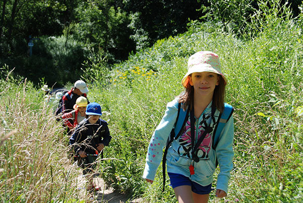 Children walking along a path through tall grass.