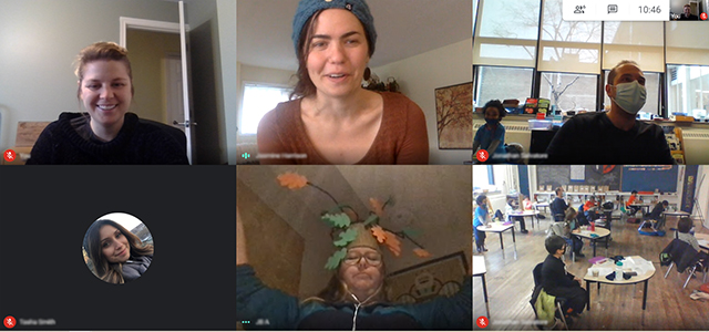 Screenshot of Evergreen's Virtually Outdoors program with students and educators. One educator is wearing a handmade costume made to look like a tree.