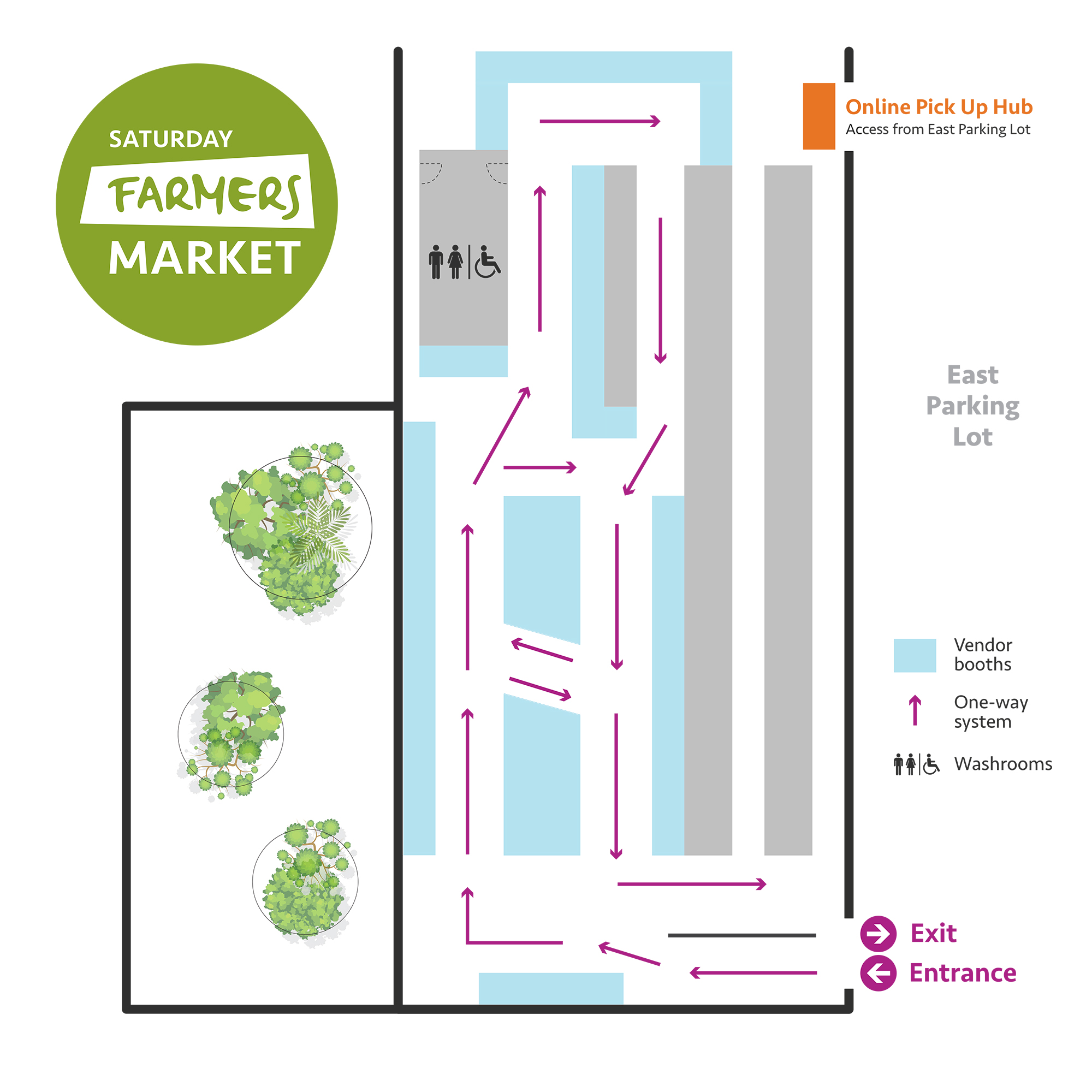 Market Map. Enter and Exit through TD Future Cities Centre in East Parking Lot