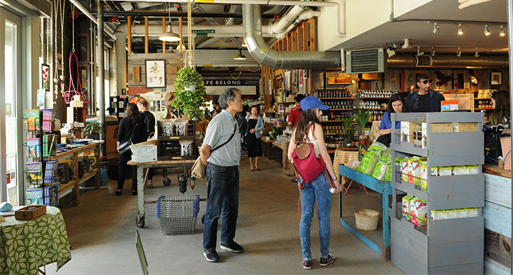 People shopping at Evergreen Garden Market.