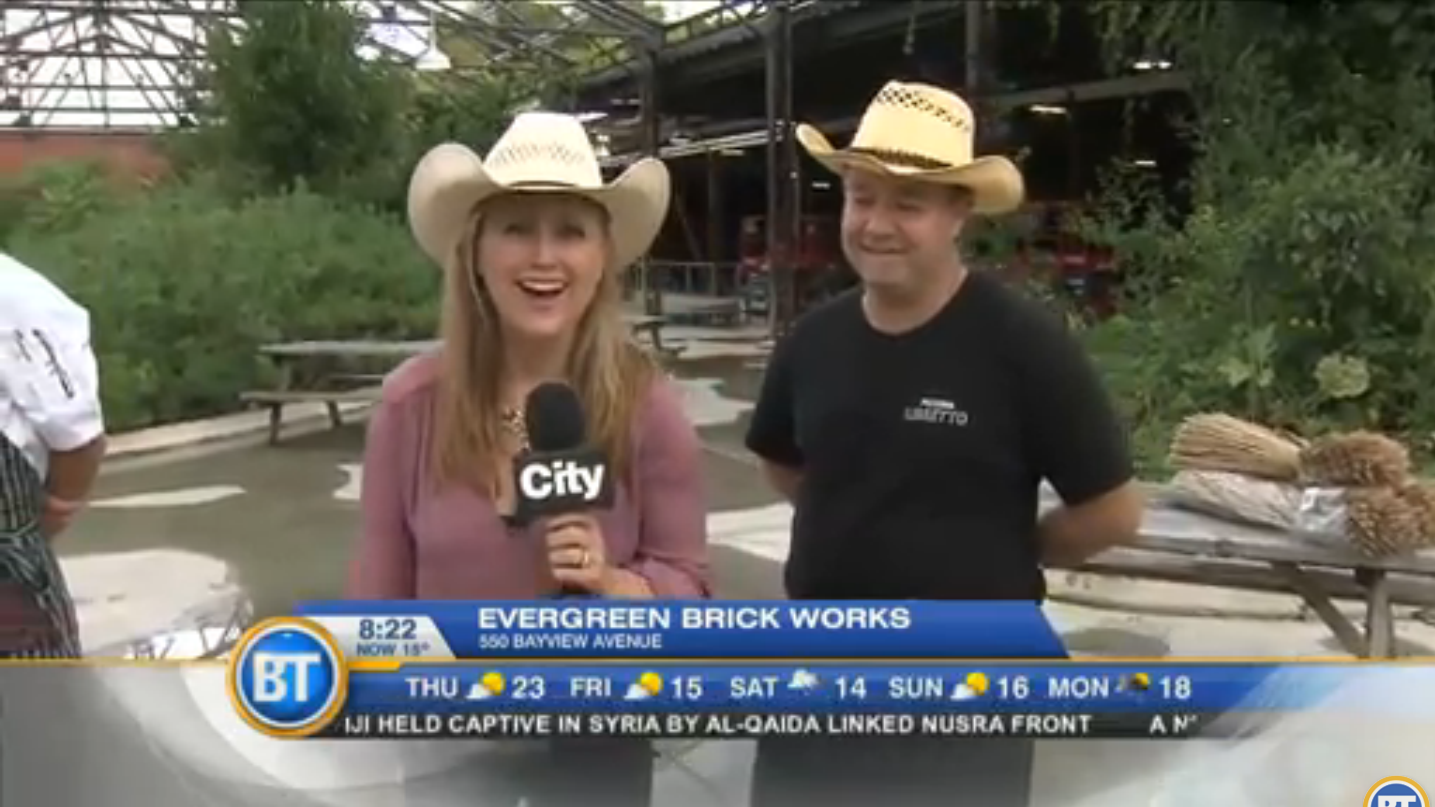 Jenn Valentyne host of Breakfast Television, standing at Evergreen Brick Works.