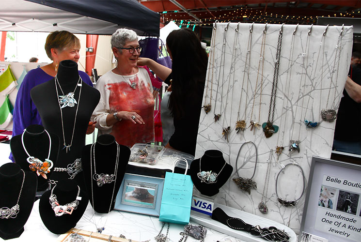 Jewelry on display at the Sunday Artisan Market. Image credit Stanley Shoolman.