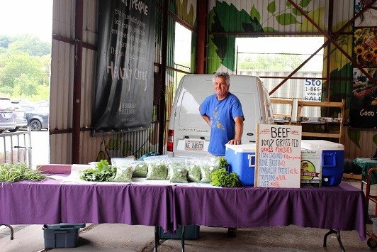 Peter Finch of Rolling Hill Organics at the Saturday Farmers Market