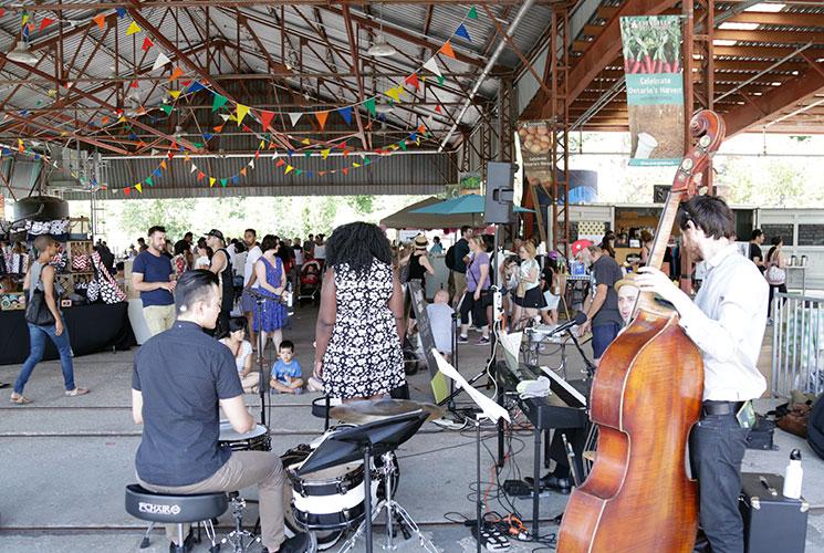 A band performing at the Sunday Artisan Market.