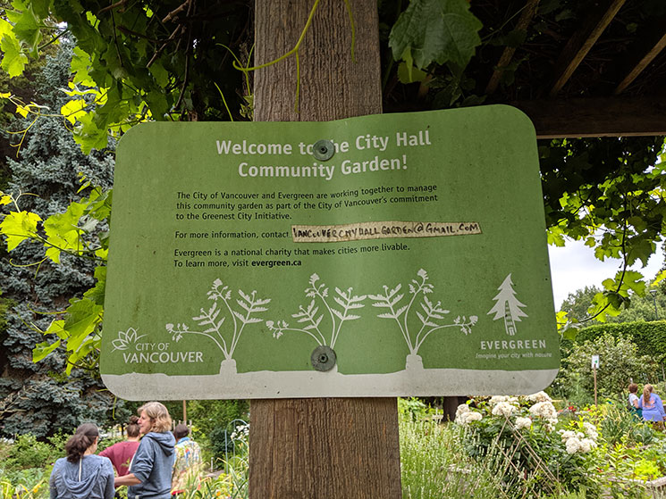 Welcome sign at Vancouver City Hall Community Garden