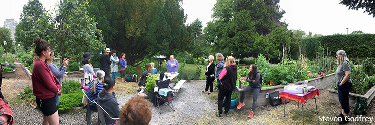 Group gathered at the 10th anniversary celebration of Vancouver City Hall Community Garden