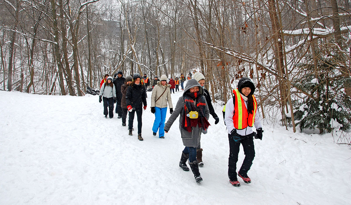 A group of people hiking through the Don Valley in the snow. Image: Mike Derblich