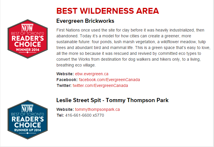Text showcasing that Evergreen Brick Works won best wilderness area.