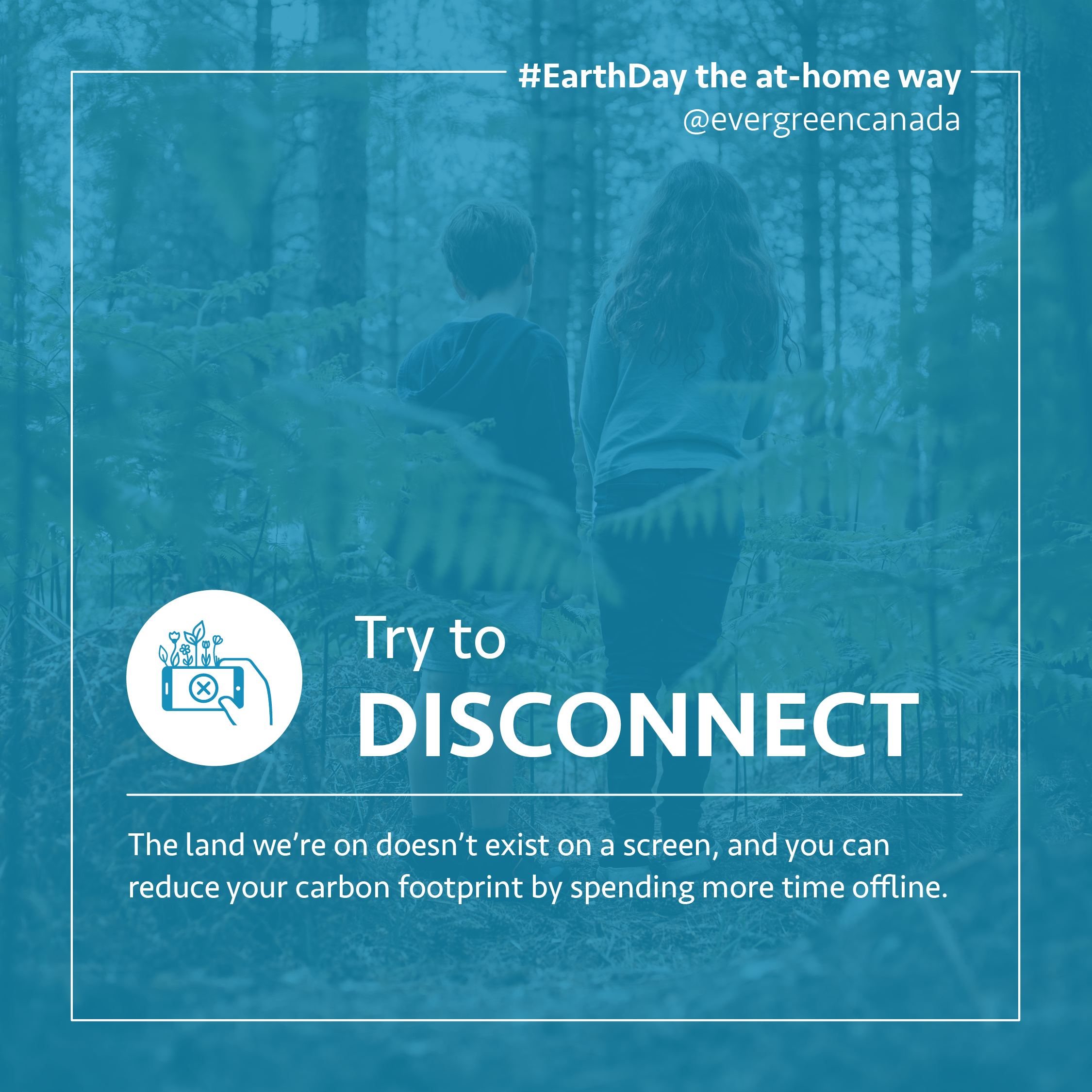 Try to disconnect. The land we're on doesn't exist on a screen, and you can reduce your carbon footprint by spending more time offline.