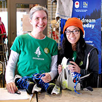 Volunteers at the skate rental desk at Evergreen Brick Works. Image Credit: Mike Derblich