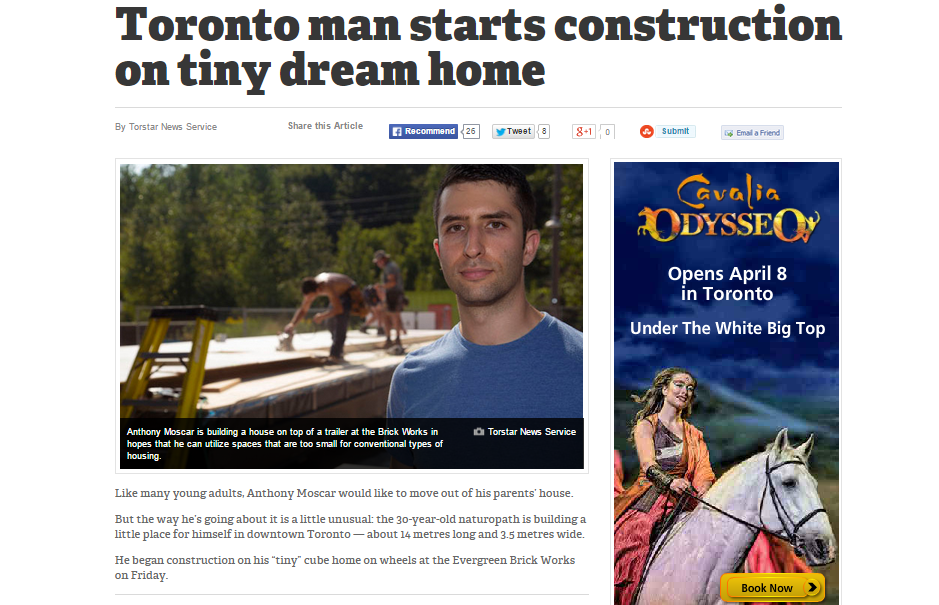 Screen Shot of article - Toronto man starts construction on tiny dream home, photo of man standing in front of partially built home.