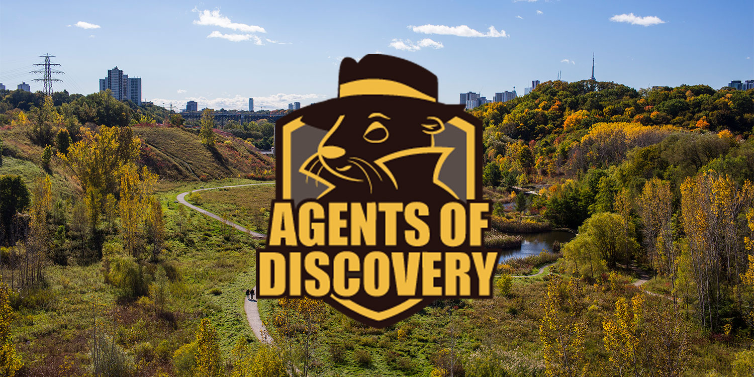 Agents of Discovery logo overlaid on an image of the Quarry Garden and Evergreen Brick Works. Image: Geoff Fitzgerald