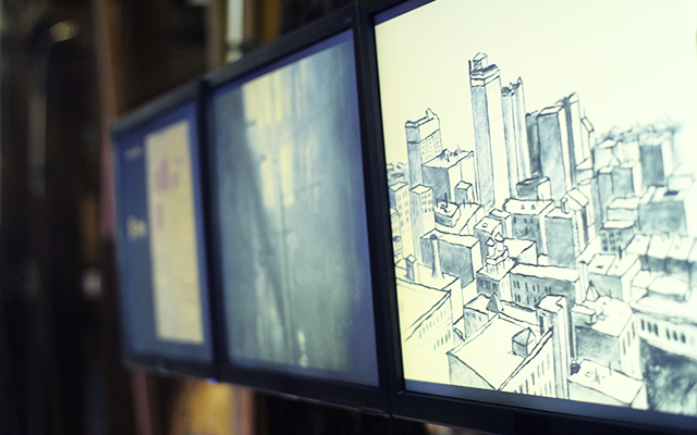 A drawing of a city on display