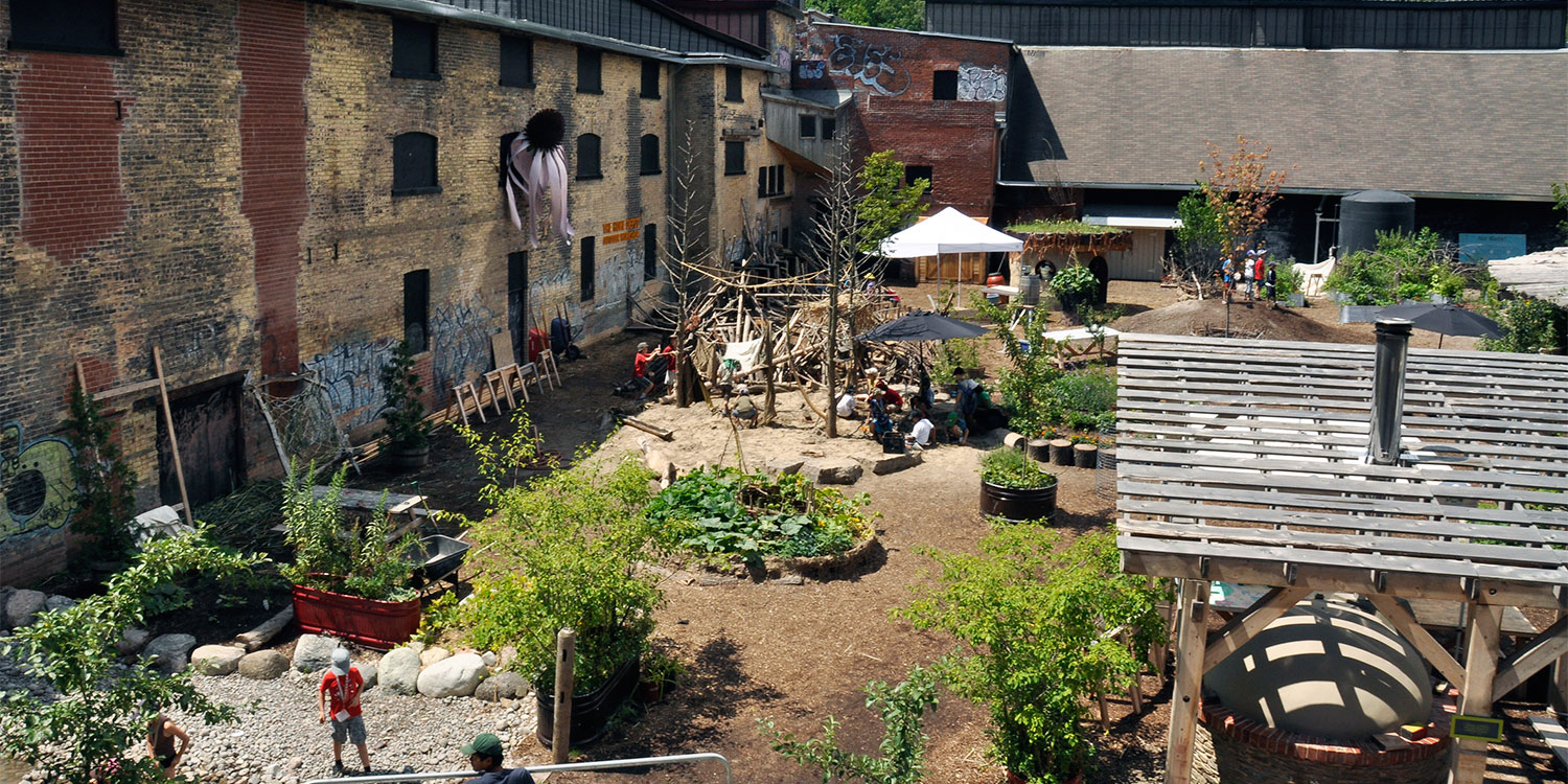 A view of the Children's Garden at Evergreen Brick Works.