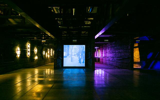 A light screen inside the Brick Works