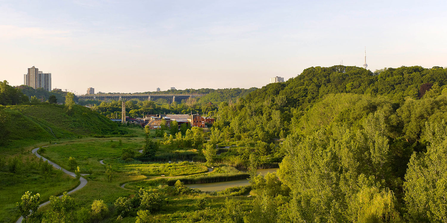 A view of Evergreen Brick Works.