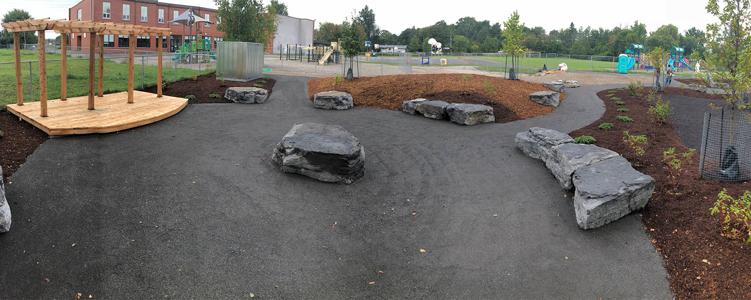 A panoramic shot of Elginburg PS redesigned play space.