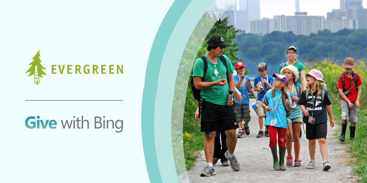 Evergreen and Give with Bing partnership. Photo of children walking through city trail.