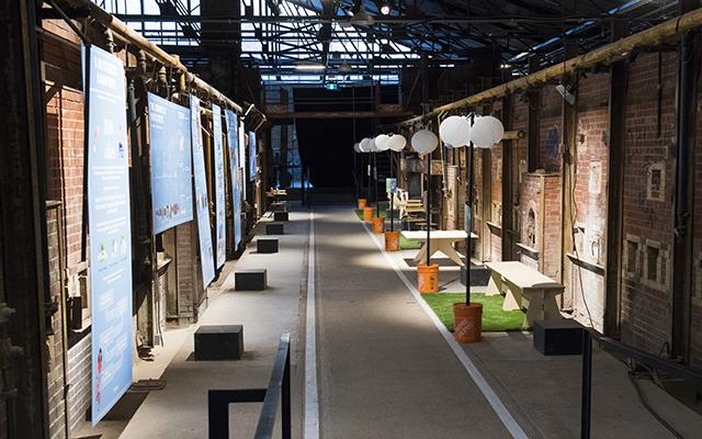 A streetscape set up inside the Brick Works