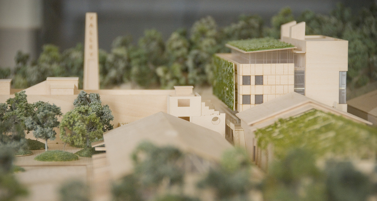 model of buildings among trees