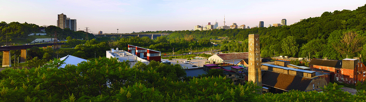 An aerial shot of Evergreen Brick Works at sunset.