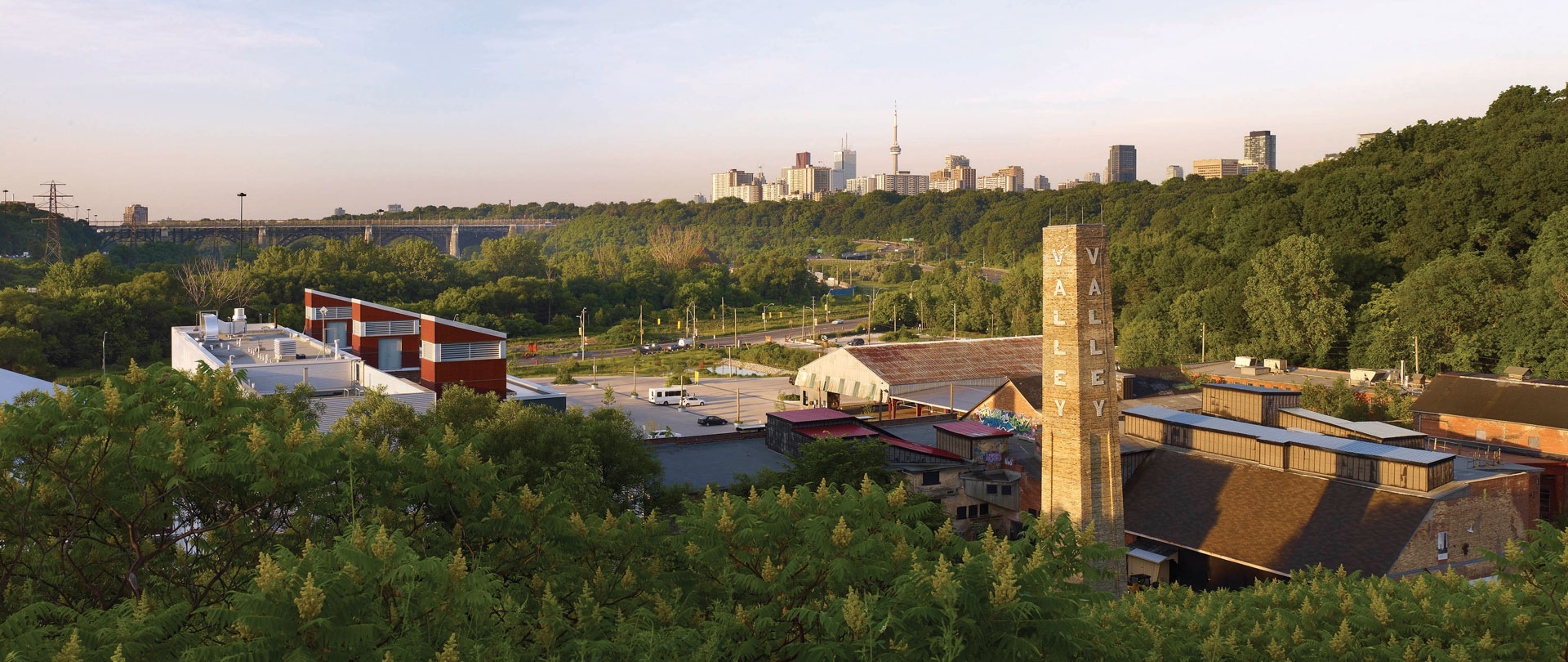 A panoramic view of Evergreen Brick Works and the Don Valley.