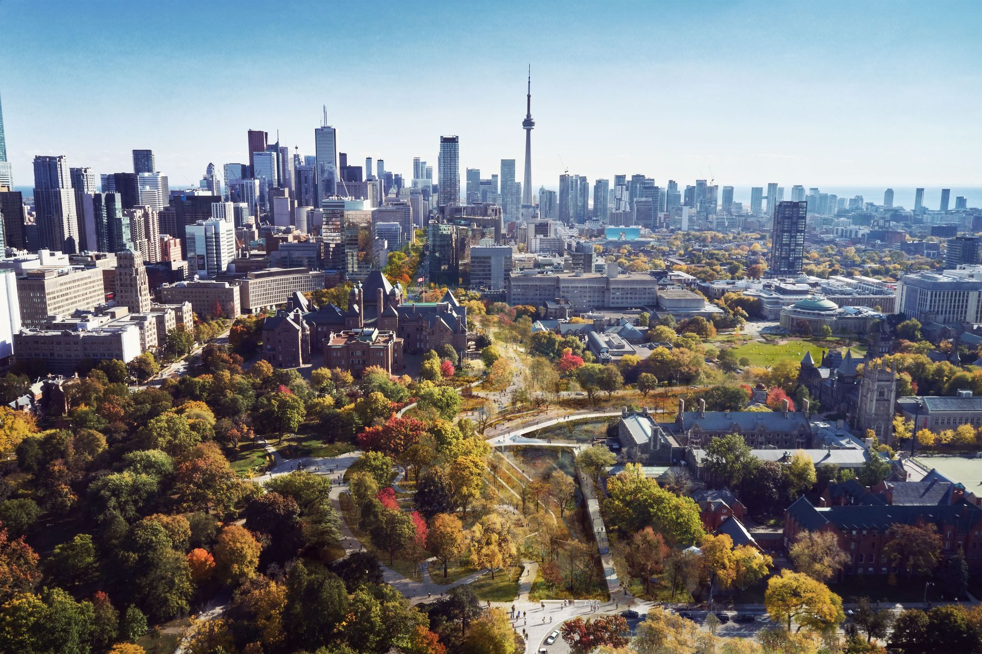 A rendering of Toronto's University Avenue, expanded into a long continous park
