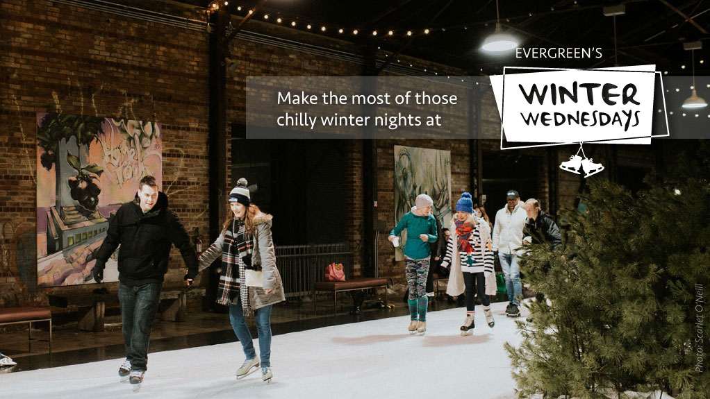 Winter Wednesdays promotional banner. Photo of people skating. Image: Scarlet O'Neill