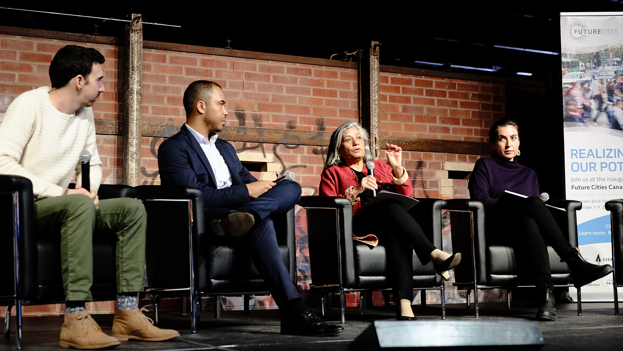 A panel at the Future Cities Canada Summit including Senator Ratna Omidvar, Tanya Talaga, Rashiq Fataar and Maxim Bregoli. Image: Layah Glassman