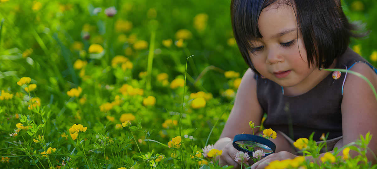 A little girl examining a plant with a magnifying glass. (Credit: daveandcharlotte.com)