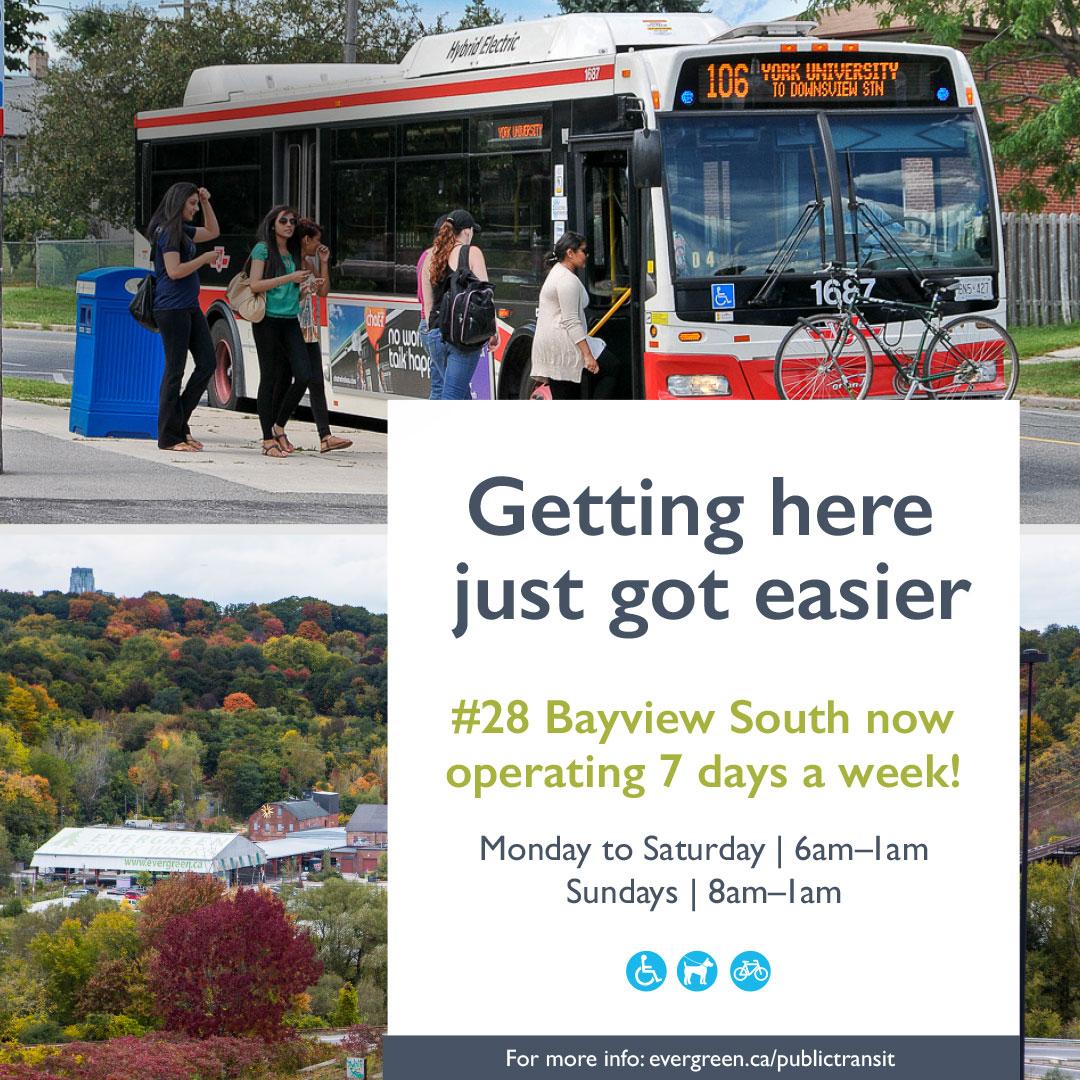 TTC bus service operating 7 days a week!