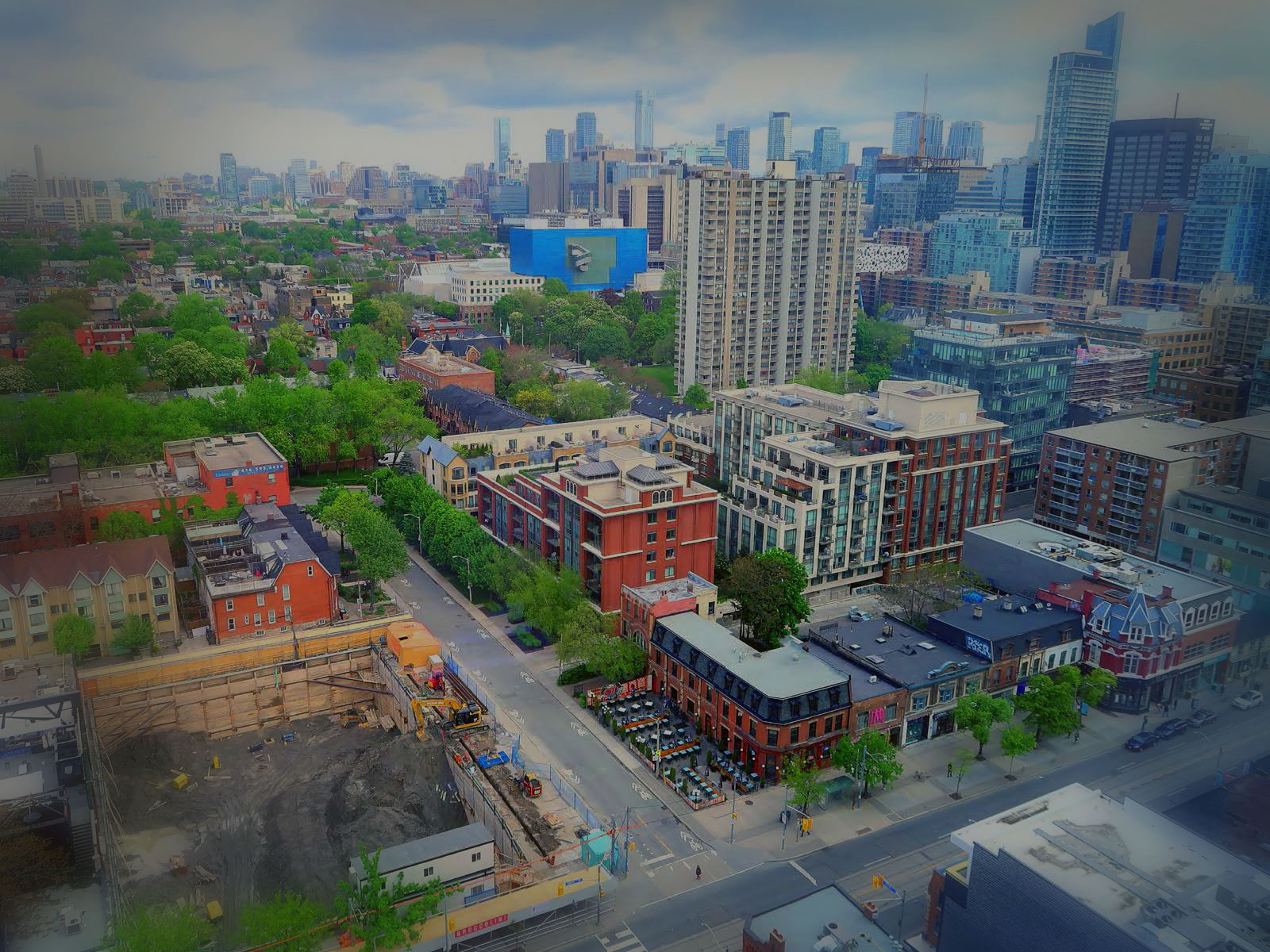 An aerial view of an urban neighbourhood.