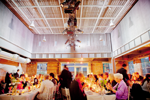 An event in the BMO Atrium at Evergreen Brick Works.