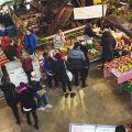 Shoppers at the indoor Saturday Farmers Market at Evergreen Brick Works. Image: Jesse Han
