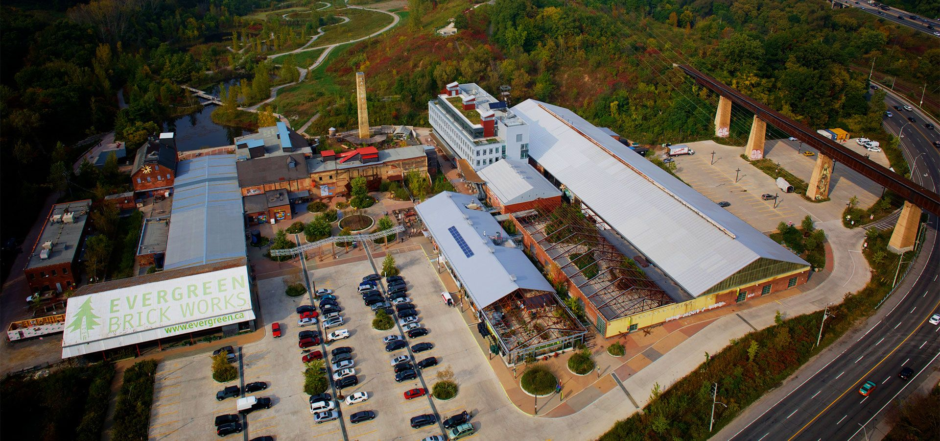 An aerial photo of Evergreen Brick Works.