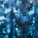 numbers and codes against blue background