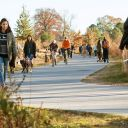 People walk and cycle along the Atlanta Beltline trail.