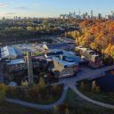 A look at the Toronto skyline from Evergreen Brick Works in Toronto.