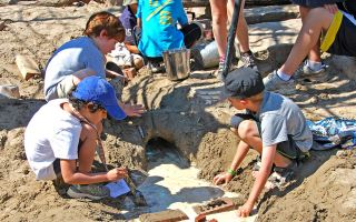 Children playing in the sand during a day of camp at Evergreen Brick Works. Image: Mike Derblich