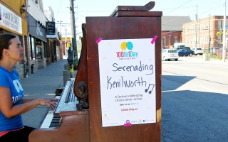 A piano activation for 100in1Day in Hamilton in 2016.