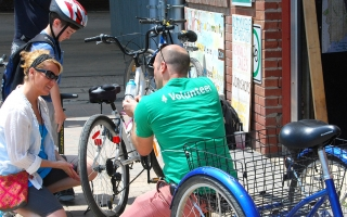 Our volunteers help us in so many different ways, from helping run bike workshops to lending a hand at events/Mike Derblich