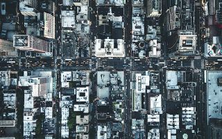 A bird's eye view of a city's streetscape.
