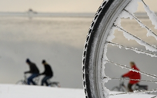 Bike wheel with icycles