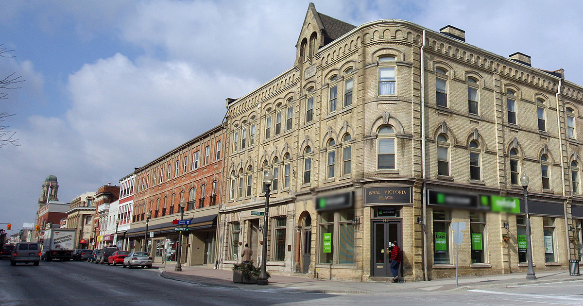 A look at a downtown of an Ontario mid-sized city.