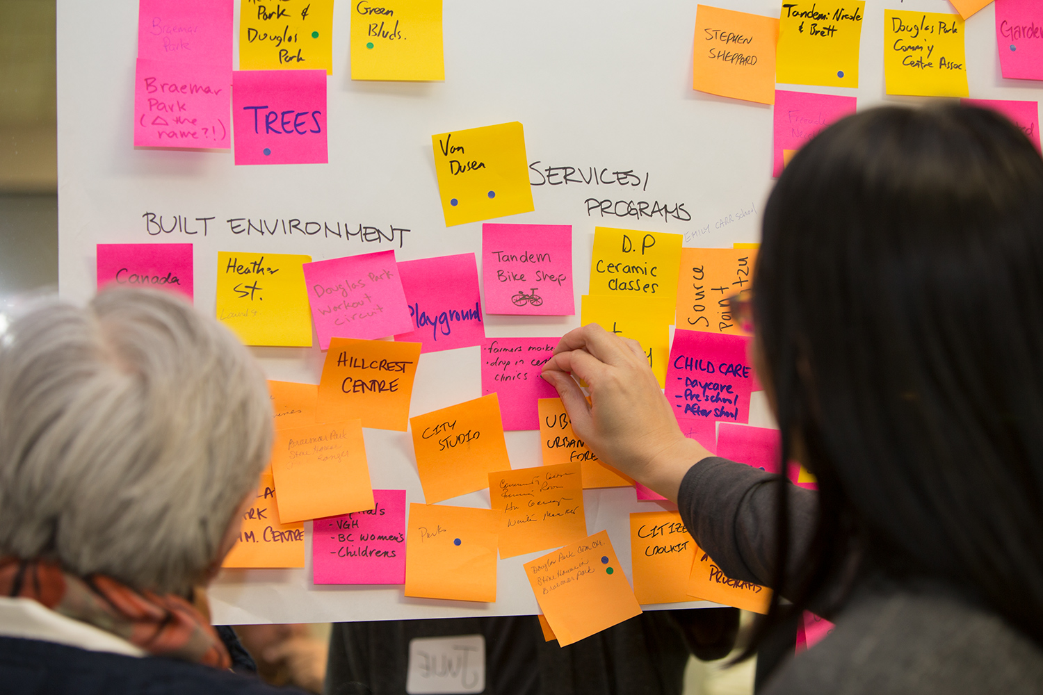 Participants take place in a sticky note activity during a Green Bloc Neighbourhoods workshop in South Cambie, BC.