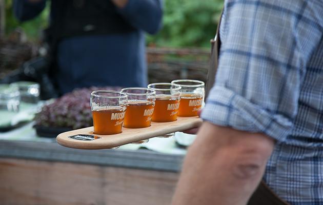 A flight of beer from Muskoka Brewery.