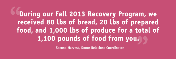 """During our Fall 2013 Recovery Program, we received 80 lbs of bread, 20 lbs of prepared food, and 1,000 lbs of produce for a total of 1,100 pounds of food from you."" - Second Harvest, Donor Relations Coordinator"
