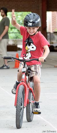 A boy riding a bike at Evergreen Brick Works (Photo: Jan Schwarz)