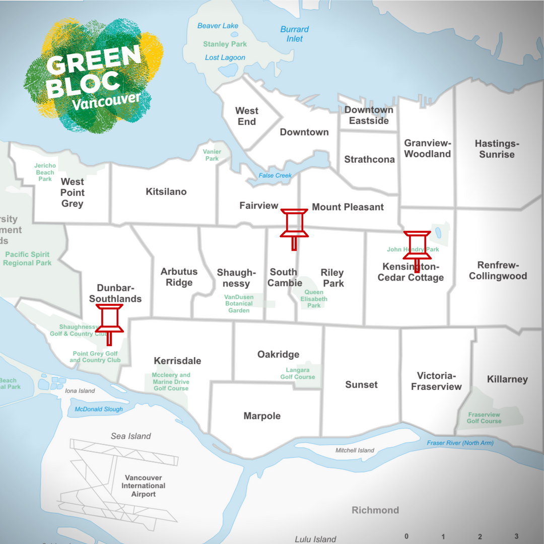 A map of the Vancouver communities chosen for Green Bloc Neighbourhoods.