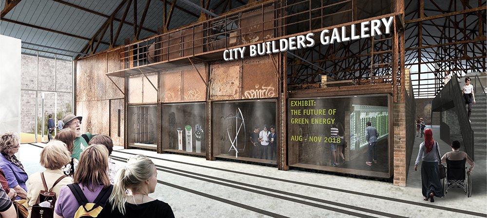 A rendering of the City Builders Gallery at Evergreen Brick Works.